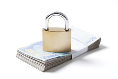 Wad Euros and Padlock on White Stock Photos