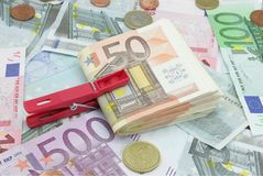 Wad of fifty euros bills Royalty Free Stock Images
