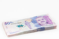 Wad of Fifty Thousand Colombian Pesos Bills Stock Photography