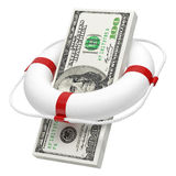 Wad of money in lifebuoy Stock Image