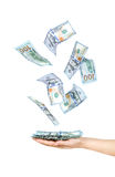 Wad of one hundred dollar bills held. In hand Stock Photography