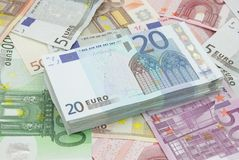 Wad of twenty euros bills Stock Photo