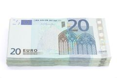 Wad von Zwanzig Eurorechnungen Stockfotos