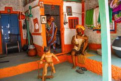 Wada dell'agricoltore o casa, museo della scultura, per la matematica di Kaneri, Kolhapur, maharashtra Fotografia Stock