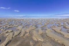 Wadddengebied bij Paesens Engelse Moddergat, Tidalflats bij Paesens-en royalty-vrije stock foto's