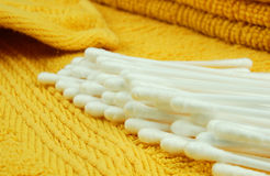 Wadded sticks. On  towel in  bathroom Stock Photography
