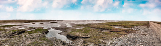 Wadden sea road to the island Royalty Free Stock Photo