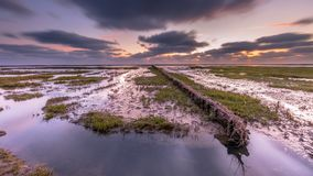 Wadden sea Salt marsh at sunset. Wadden sea mud-plains of tidal marsh where new land is being created on the Groningen coast in the Netherlands Royalty Free Stock Images