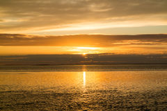 Waddensea near West Frisian island Texel at sunset, Netherlands Royalty Free Stock Images