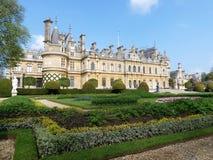 Waddesdonmanor een buitenhuis en tuinen tussen 1874 en 1889 voor Baron Ferdinand de Rothschild wordt gebouwd dat royalty-vrije stock afbeeldingen