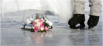Wadding day 4. The wedding day on the skating rink Royalty Free Stock Photos