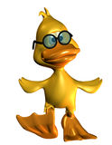 Waddling end. 3D rendering of a duck waddling in comic style Royalty Free Stock Photography