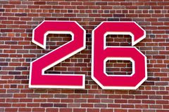 Wade Boggs retired number. The retired number of Hall of Famer Wade Boggs hangs outside Fenway Park, Boston, MA stock image