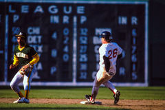 Wade Boggs Strolls into Second Base. Hall of Fame 3B Wade Boggs (26) strolls into Second base during a game against the Oakland Athletics. (Image taken from royalty free stock image