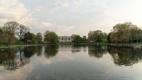 The Wade Park Lagoon with famous Art Museum royalty free stock photography