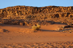 Wadee Rum. A beautiful place, is full of charm, especially in the morning and in the evening, characterized by mountains carved naturally, a lot of dunes and stock photo