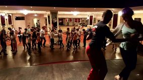 WADF academy workshop. MOSCOW - MARCH 19: People learn dance at  WADF academy workshop, organized by World Dance Artistic Federation on March 19, 2016, in Moscow stock video footage