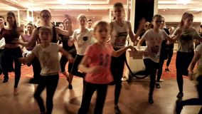 WADF academy workshop. MOSCOW - MARCH 19: People learn dance at WADF academy workshop, organized by World Dance Artistic Federation on March 19, 2016, in Moscow stock video