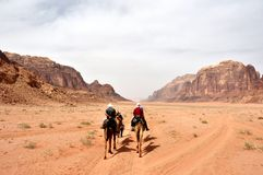 wadi ρουμιού της Ιορδανίας Στοκ Φωτογραφίες