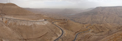 Wadi Al Mujib. Valley in east of Amman,with streets descending toward the bottom of the valley Royalty Free Stock Photo