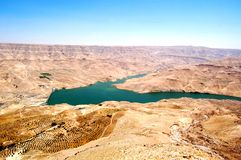 Wadi Al-Mujib Dam. Located 100 kilometres south of Amman, between the governorates of Madaba and Karak, the Mujib Dam is designed to store rainwater for domestic Royalty Free Stock Photo