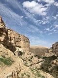 Wadi al Qelt kenyons mellan Jericho och Jerusalem royaltyfria bilder