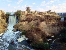 Wadi Al Rayan Waterfalls Arkivbilder