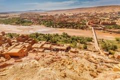 Wadi Asuf Ounia pod Ksar Ait Ben Haddou Obraz Stock