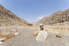 Wadi in de hooglanden van Ras al Khaimah, Verenigde Arabische Emiraten stock afbeelding
