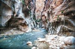 Wadi Hasa liten vik i Jordanien Royaltyfria Bilder