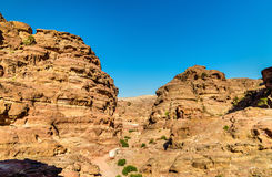 Wadi Jeihoon, the path to the Monastery El Deir at Petra Stock Images