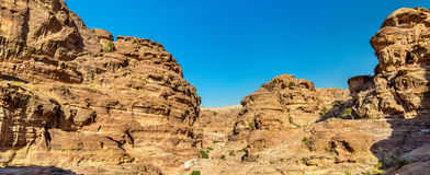 Wadi Jeihoon, the path to the Monastery El Deir at Petra Royalty Free Stock Photography