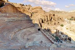 WADI MUSA, JORDAN - NOVEMBER 18, 2012:  Top view of antique theater in ancient Petra city. Another name for Petra is the Rose City Stock Photography