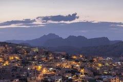 Wadi Musa - Jordan at sunset Stock Photography