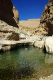Wadi Oman. Swimming in the Wadi Bhani Khalid, Oman Royalty Free Stock Photo