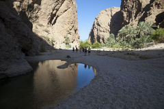 Wadi in Oman. Walk in a wadi in the sultanate of Oman Stock Photography