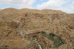 Wadi qelt desert and monastery of Saint George Koziba near Jericho. stock photography