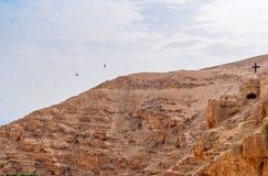 Wadi Qelt in Judean desert around St. George Orthodox Monastery Stock Photo