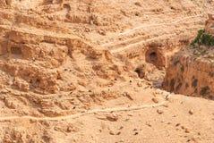 Wadi Qelt in Judean desert around St. George Orthodox Monastery Stock Images