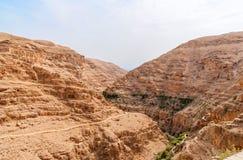 Wadi Qelt in Judean desert around St. George Orthodox Monastery Stock Image