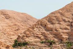 Wadi Qelt in Judean desert around St. George Orthodox Monastery Royalty Free Stock Images