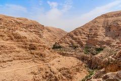 Wadi Qelt in Judean desert around St. George Orthodox Monastery Royalty Free Stock Photo