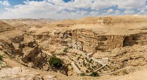 The Wadi Qelt, Monastery of St. George in Israel. The Wadi Qelt or Nahal Prat, the Greek Orthodox monastery of Saint George of Choziba in Judaean Desert near Royalty Free Stock Photography