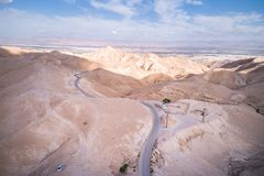 Wadi Qelt no deserto de Judean em torno de St George Orthodox Monastery fotografia de stock royalty free