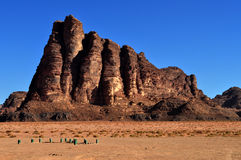 Wadi Rum. Seven pillars of wisdom, Lawrence of Arabia monument Stock Images