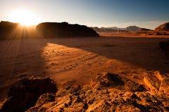 Wadi Rum. Dawn in Wadi Rum desert reserve stock images