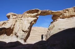 Wadi Rum Arch, Jordan. One of the numerous arches in Wadi Rum - the best place for climbing and Eco-tourism Stock Images