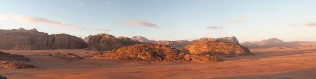 Wadi rum desert. Panoramic view of wadi rum desert at sunrise Royalty Free Stock Photos