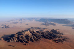 Wadi rum desert from above. Jordan Stock Image