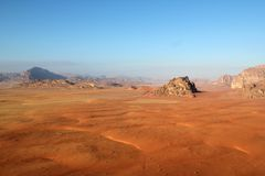 Wadi rum desert from above. Jordan Royalty Free Stock Photos